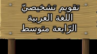 تقويم تشخيصي السنة الرابعة متوسط مادة اللغة العربية